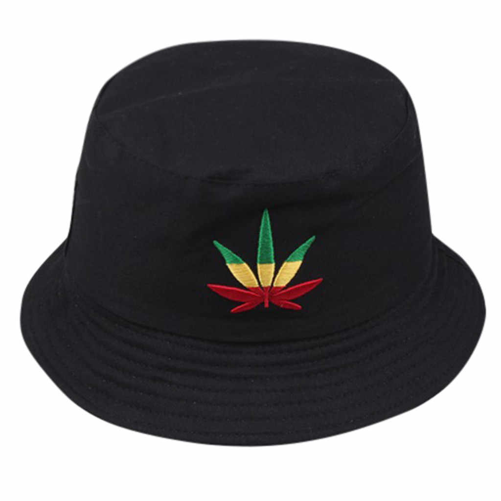 Men Women Leaf Bucket Hat Hip Hop Fisherman Panama Hats Embroidery Cotton Outdoor Summer Casual Swag Bob Visor Bucket Caps #L5