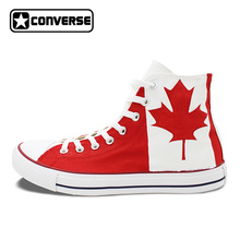Canadian National Canada Flag Converse All Star Man Woman Shoes Red Maple Leaf Hand Painted High Top Canvas Sneaker Men Women