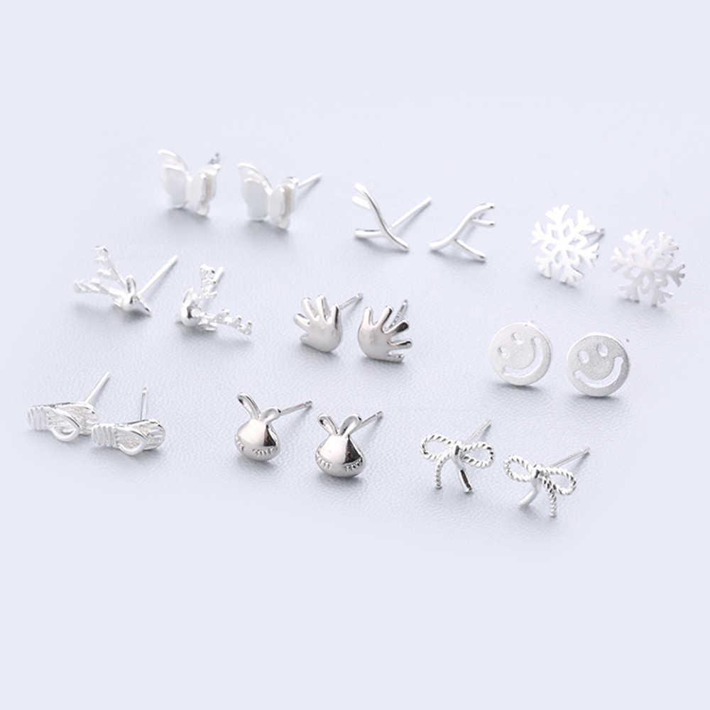 XIYANIKE ファッションジオメトリイヤリングホット販売 925 スターリングシルバーかわいいスタッド耳針シンプルな人格女性のための 127- 144