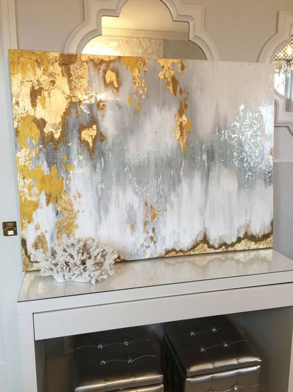 Hand Painted Abstract Gold Leaf Art with Gray and White Ombre Pictures Handmade White and Silver Chandelier Canvas Oil Paintings