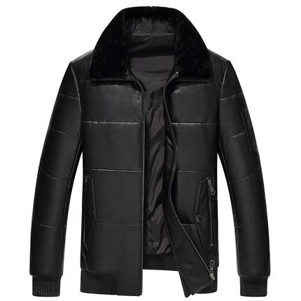 KMETRAM 2019, высокое качество, кожаный пуховик, мужской, роскошный, натуральная кожа, мужские s 100%, овчина, зимняя куртка, черный, 4XL, куртка, HH509 - 3