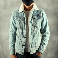 Thick Warm Washed Retro Vintage Male Denim Coats Men Winter Jean Jacket Fleece Faux Fur Lined