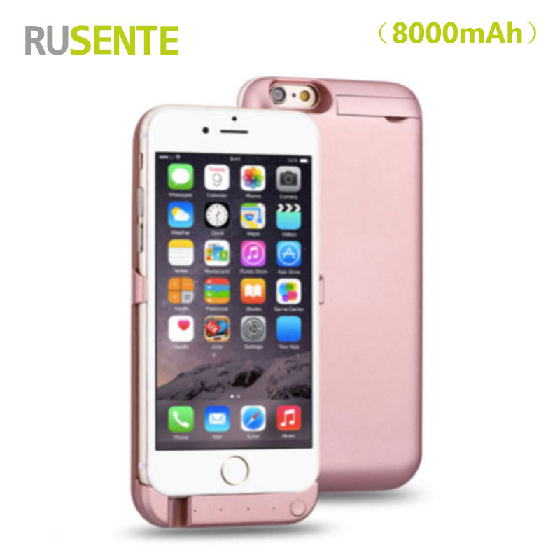 High quality Portable External battery Charge 8000mah Power Case For iPhone 6 Plus 6S Plus 5.5inch with Mobile holder