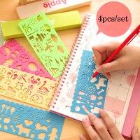 4pcs/Set Cartoon DIY Painting Set Ruler Creative Animal Aircraft Model Supplies For Kids Plastic Drawing Template Painting Ruler Rulers