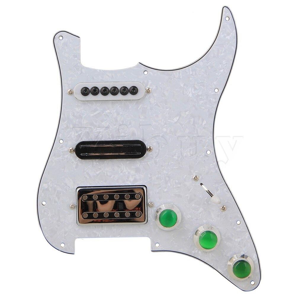 ФОТО Yibuy SSH Pickup Green Control Knob & White 11-hole 3Ply Pickguard for Guitar
