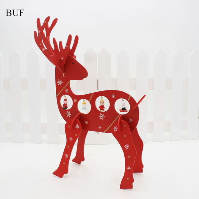 buf diy christmas decoration hanging wooden deer christmas ornaments diy crafts accessories desk adornment - Wooden Deer Christmas Decorations