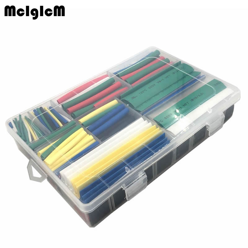 385pcs heat shrink tube 2:1 Heat Shrink Tubing set 9 sizes 7 colors Sleeve Wrap Polyolefin Tubes shrink wrapped blue polyolefin 3 0mm x 200 meters heat shrink tubes 2 1