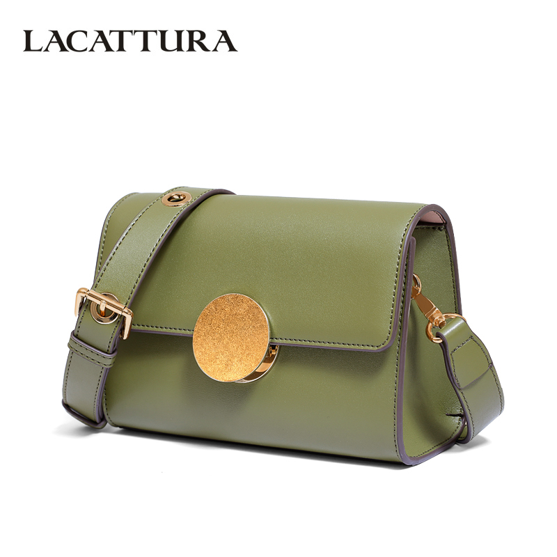 LACATTURA Women Messenger Bags Designer Women Leather Shoulder Bag Small Clutch Fashion Crossbody Luxury  Handbag Golden Hasp lacattura small bag women messenger bags split leather handbag lady tassels chain shoulder bag crossbody for girls summer colors