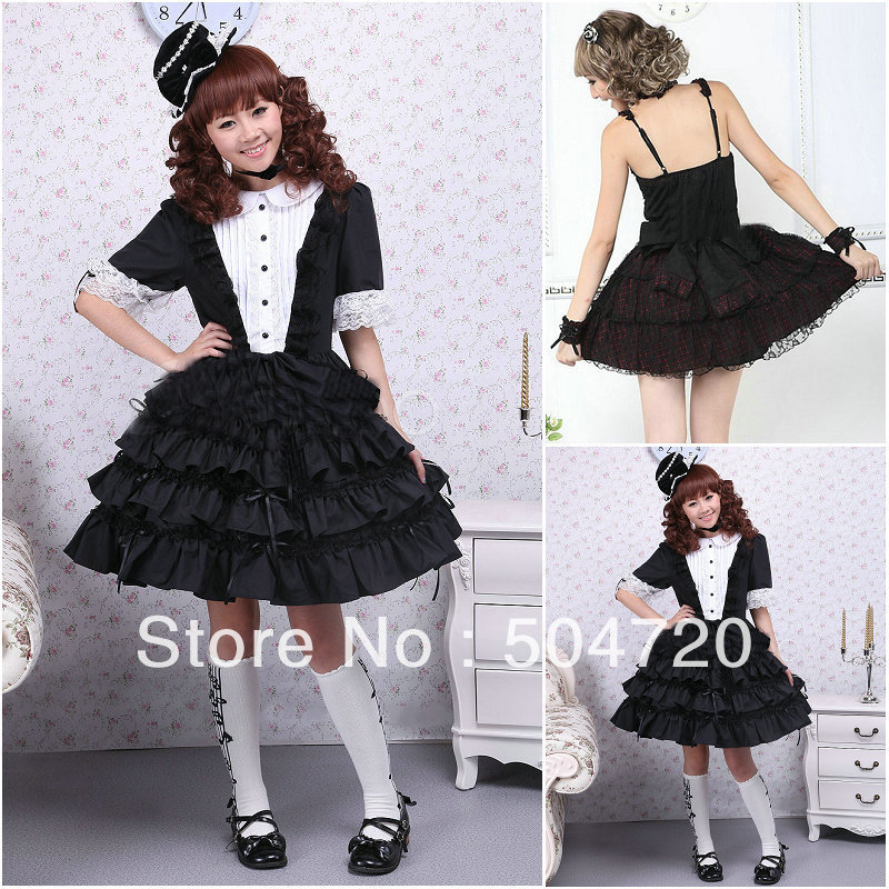 Freeshipping! Black Cotton short sleeve Gothic Lolita dress Halloween dress
