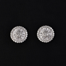HIBRIDE Brand Jewelry 3 Time Platinum Plated Round Austrian Crystal Stud Earrings For Women E-180