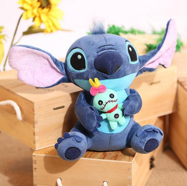 Kawaii Stitch Muñeca de la Felpa Juguetes Anime Lilo y Stitch 25 cm Stich Juguetes de Peluche para Los Niños Embroma el Regalo de Cumpleaños
