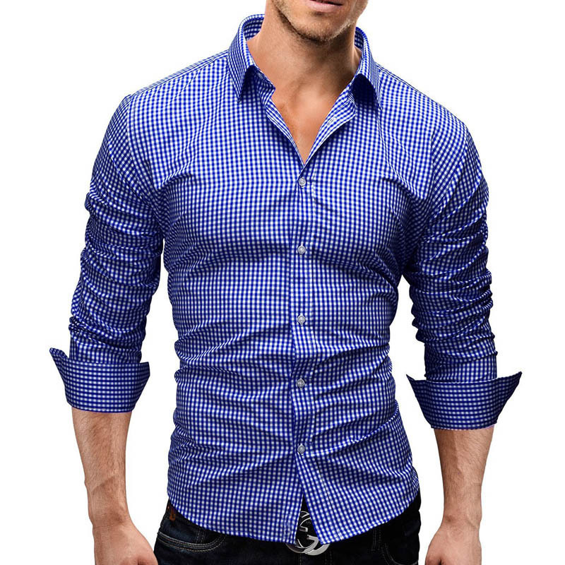Men Shirts Long Sleeve Cotton Business Dress Shirt Male Casual Shirt Business Style Slim Fit Long Sleeve Casual Dress Shirt