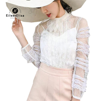White Blouse Women Summer Blouses 2018 Womens Fashion Transparent Long Sleeve Tops Elegant