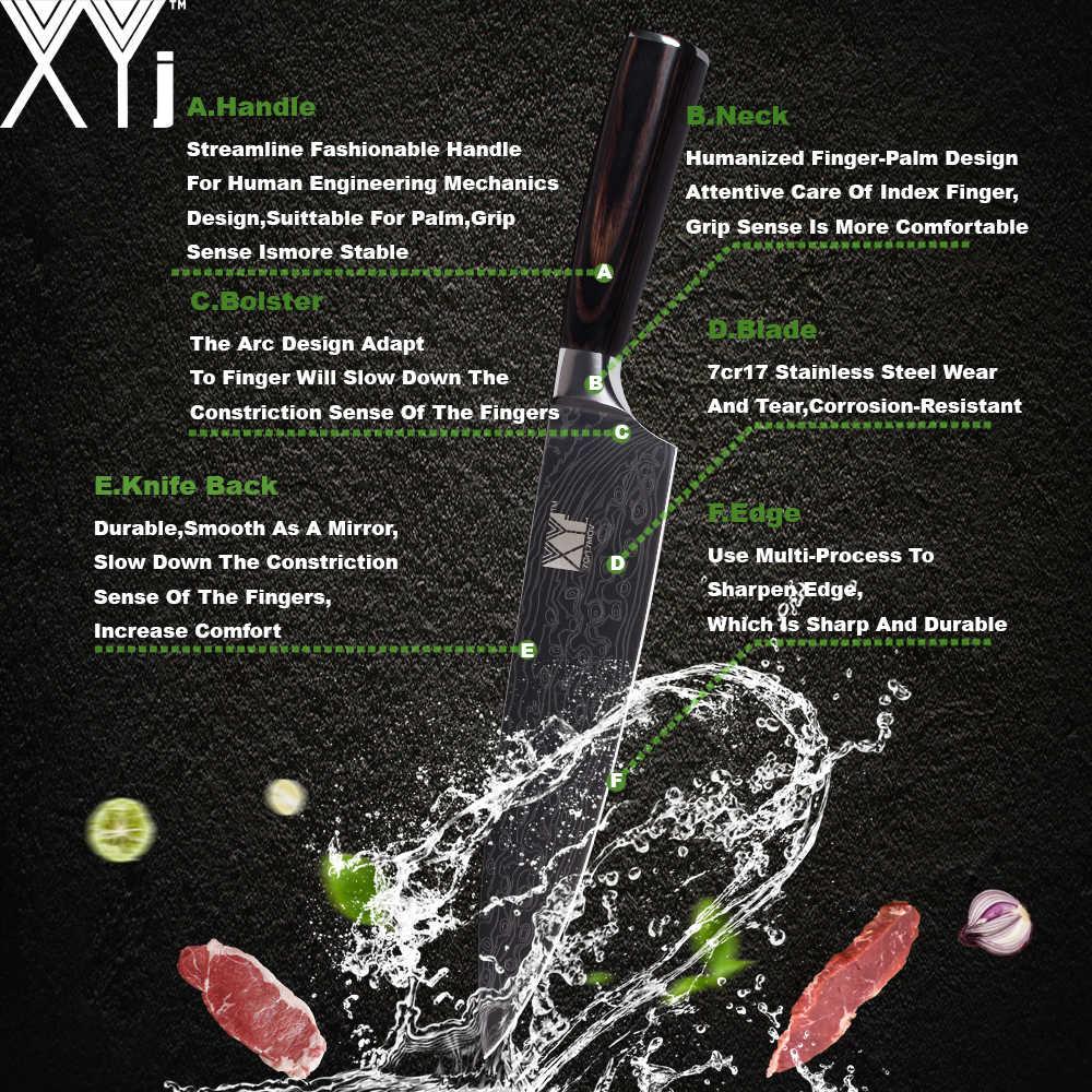 """Facas de Cozinha Cozinhar XYj 8 """"7"""" 5 """"3.5"""" Facas De Cozinha Em Aço Inoxidável Beleza Padrão de Cor de Madeira lidar com Faca Do Chef Japonês"""