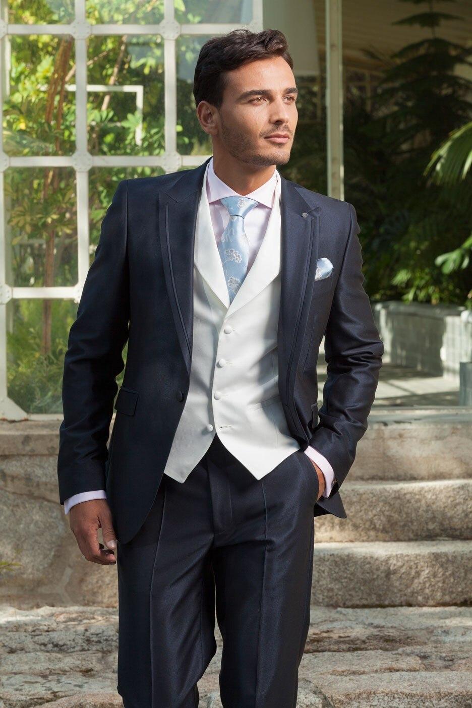 2017 Charcoal One Button Customized Wedding Ceremony Suit Groom Tuxedos Bridegroom And Groomsman Suit Jacket+Pants+Tie+Vest