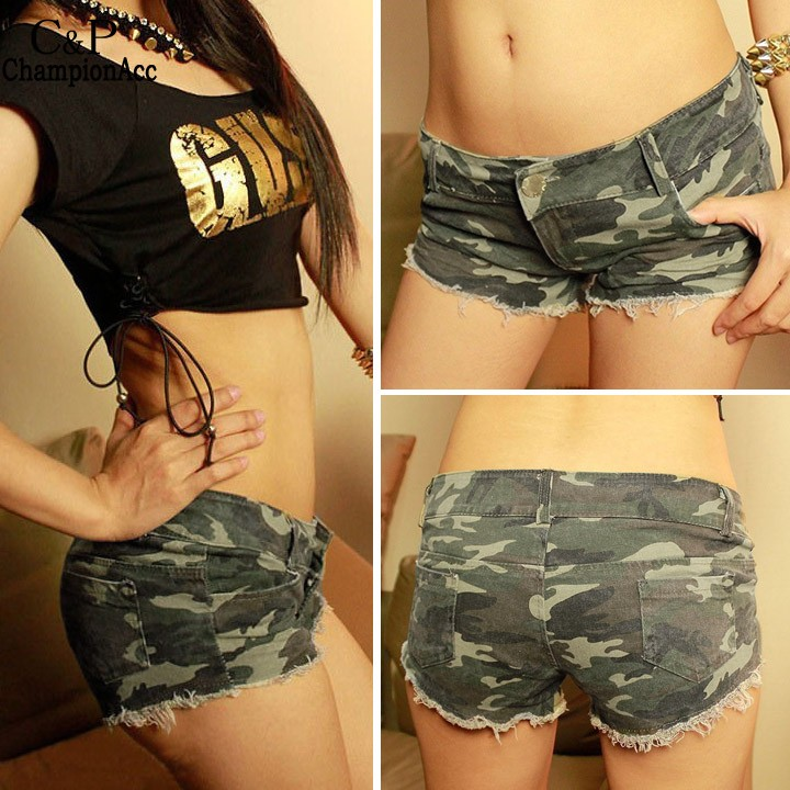 FANALA 2017 Sexy Denim Shorts Women Low Waist Short Camouflage Women Girl Jeans Shorts Skinny Fashion With Pockets