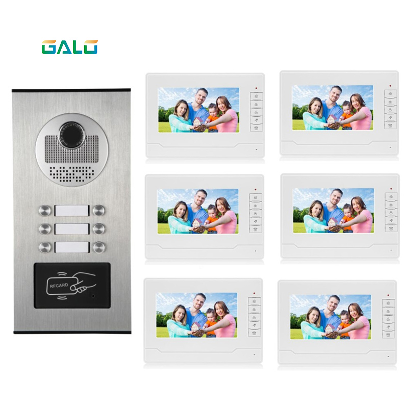 6 Apartments Video Doorbell Multi Apartment Building Ring Camera With RFID Keyfob