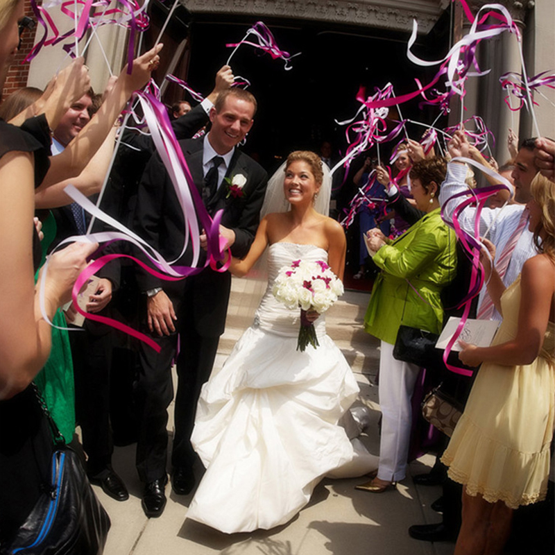 20Pcs Twirling Streamers Wedding Favor Ribbon Sticks/Wands With Bells