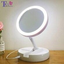 Зеркало для макияжа со светодио дный подсветкой 360 градусов Вращающаяся круглая форма настольное туалетное зеркало портативное ручное зеркало 10X увеличительное