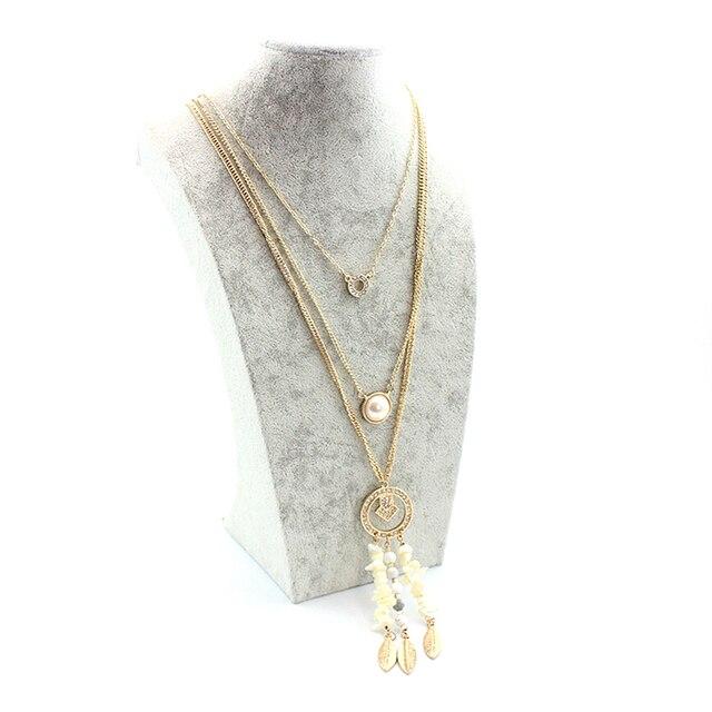 женское многослойное ожерелье toucheart золотистого цвета с фотография