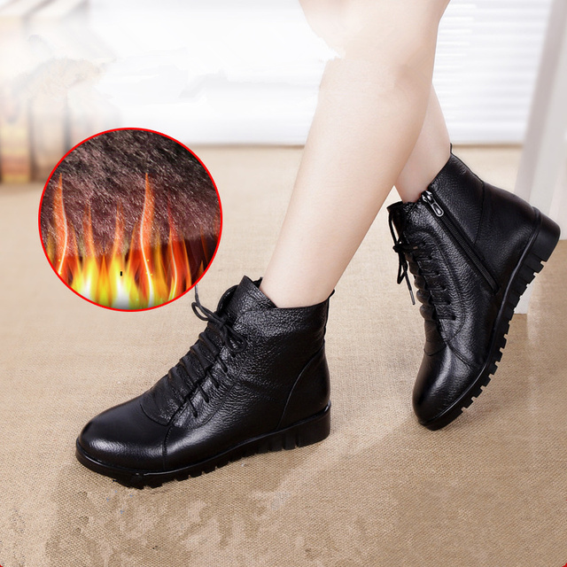 SWYIVY Women Winter Boots 2019 Black Casual Shoes Woman Genuine Leather Ankle Boots For Women Snow boots Warm Fur Plus Size 43