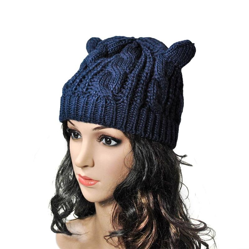 Sagace Women Autumn Winter Beanies Devil Horns Cat Ear Crochet Knitted Ski Wool Cap Korean Style Cute Girls Skullies Hat Aug10