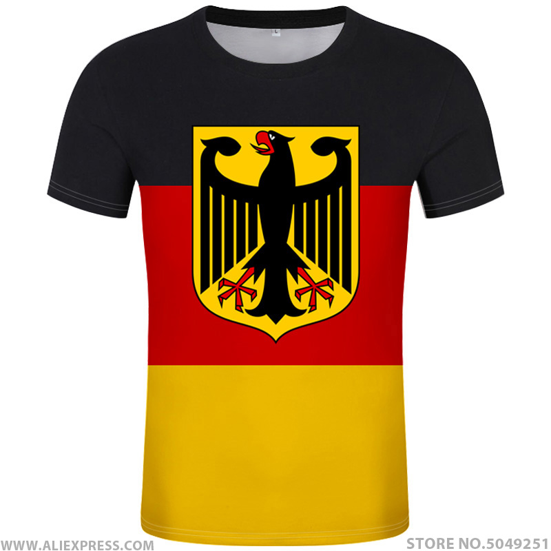 GERMANY t shirt free custom diy name number deu t shirt nation flag de country german bundesrepublik college print photo clothes-in T-Shirts from Men's Clothing