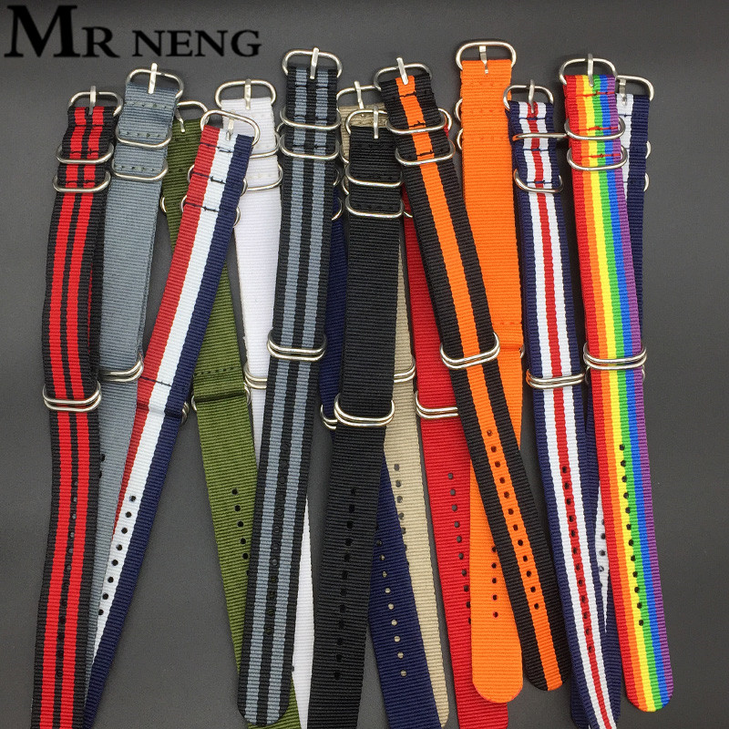 MR NENG Heavy Duty Green Nylon Straps 18mm 20mm 22mm 24mm Nylon Watch Band NATO Strap Black Zulu Strap Watch Strap 5 Ring Buckle