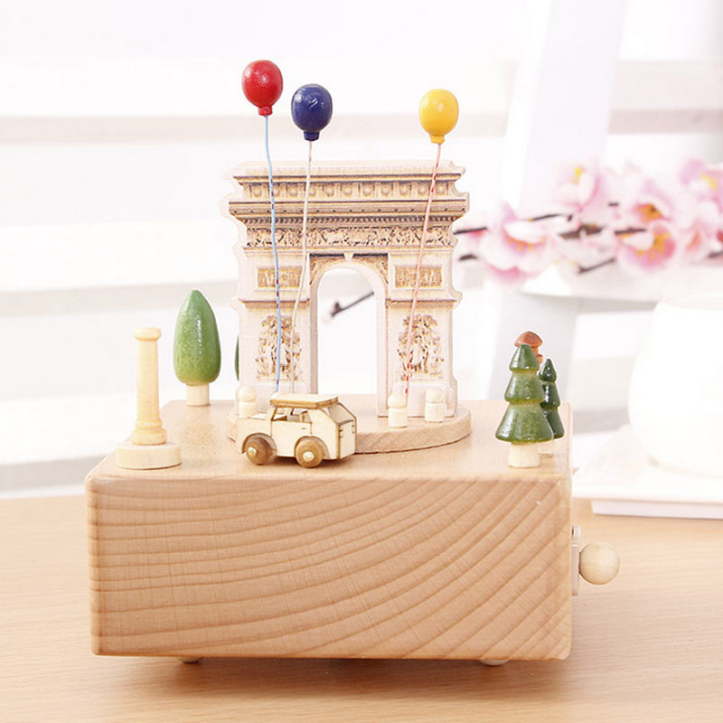 1 Piece Wind Up Toy Triumphal Arch Music Ofbox Canon Classic Wood Toy For Children Clockwork Handmade Creative Birthday Gifts