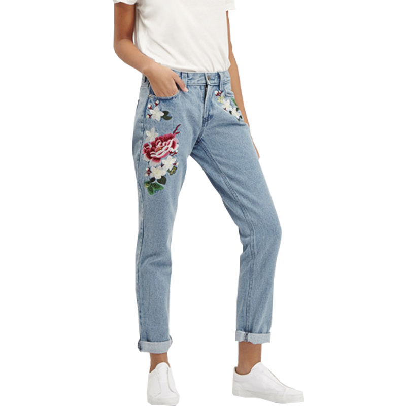 Popular Women Ladies Flower Floral Red Rose Embroidered Skinny Trousers Pant Denim Jeans | EBay