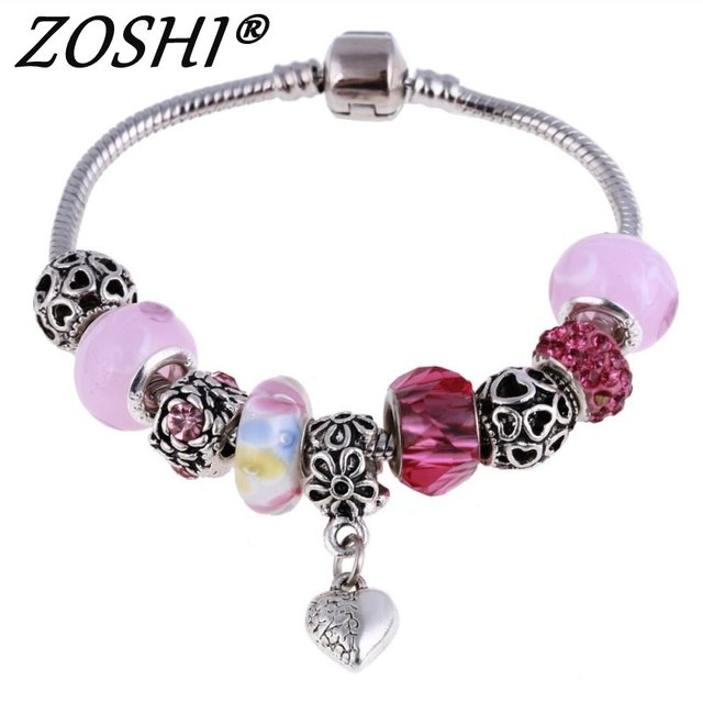 Antique Silver Charm Bracelet & Bangle with Love and Flower Beads Women Wedding Jewelry Wholesale Silver Bracelets 2019