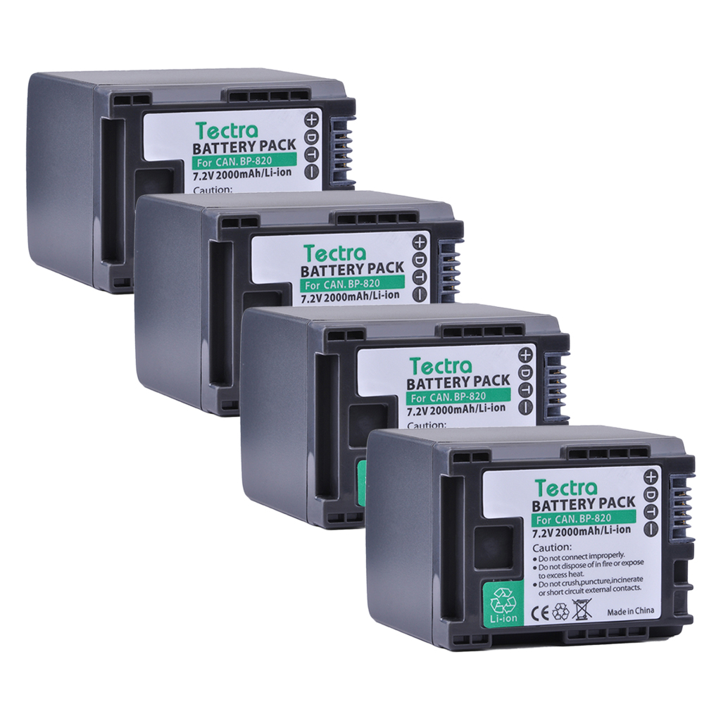 Tectra BP-820 BP820 4PCS Camera Li-ion Battery for Canon XA20 XA25 HFG30 HF HF M30 HF M31 HF M40