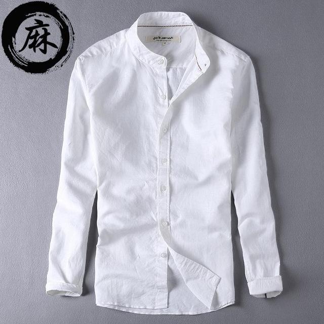 3c55abd6d2d Для мужчин S Рубашки для мальчиков с длинным рукавом из хлопка и льна  воротник-стойка