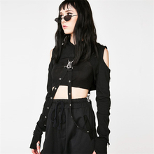 цена на 2019 Gothic Sexy Crop Top Metal Rings Bandage Off-shoulder Long Sleeves With Hat Punk Style Balck Women Crop Tops T-shirts Drop