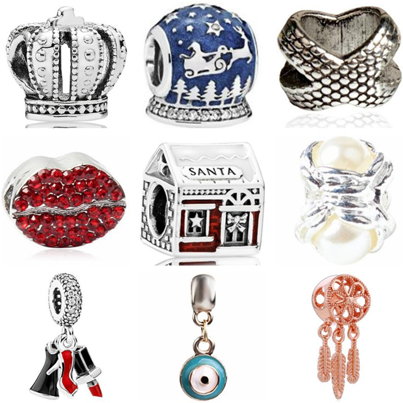 Charms Jewelry Crown Mickey-Bead Crystal Bear Original Pandora European Handmade Women