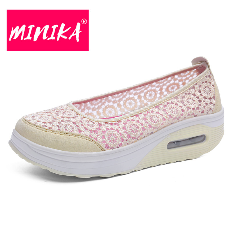 MINIKA Sexy Lace Mesh Shoes Women Mutil Colors Optional Big Size Flat Shoes Women Soft & Breathable Spring Autumn Casual Shoes minika new arrival 2017 casual shoes women multicolor optional comfortable women flat shoes fashion patchwork platform shoes