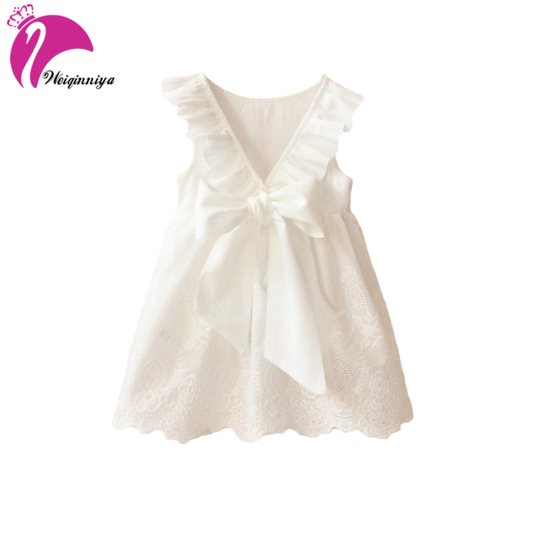 Summer Dresses For Girls Cute Bowknot Blackless Openwork A-line Girl Dresses Solid Cotton Sleeveless Princess Dress Girl Costume 2016 new girls clothes 100% cotton cute pink gray lace dress for the girl princess dress art bowknot sleeveless dress
