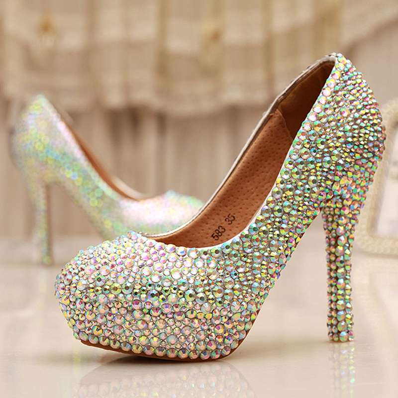 Cinderella Crystal Shoes Nightclub High Heel Platform Shoes Bridal Wedding Shoes AB Crystal Glitter Rhinestone Party Prom Shoes white ab crystal wedding shoes sparkling rhinestone bridal dress shoes plus size platform high heel shoes cinderella prom pumps
