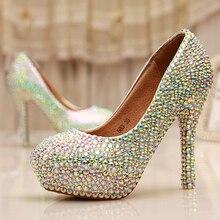 Cinderella Kristall Schuhe Nachtclub High Heel Plattform Brautschuhe Hochzeit Schuhe AB Kristall Glitter Strass Partei Prom Schuhe