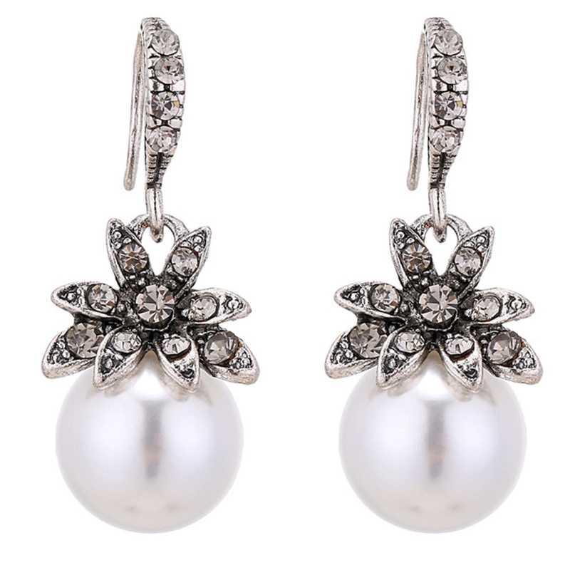 2019 חדש בציר שמש פרח לחקות פרל קריסטל להתנדנד עגילי נשים תכשיטים אבזרים