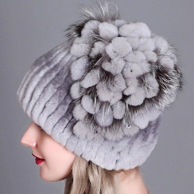 الفراء قبعة الإناث أرنب ريكس قبعة للنساء الشتاء عالية الجودة المرأة الفراء القبعات بيني الشتاء الروسية الدافئة قبعات