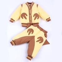 2016 New Winter Baby Clothing Set Brand New Bebes Coat Pants 2pcs Warm Newborn Girl Boy