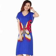 New Blue Butterfly Women s Cotton Robe Female Summer Casual Home Dress V Neck Nightgown Sleepwear