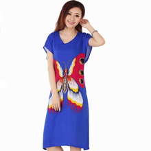 New Blue Butterfly Women's Cotton Robe Female Summer Casual Home Dress V-Neck Nightgown Sleepwear Long Bathrobe One Size NR206