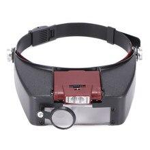 Gafas de aumento de cabeza con lupa LED, para lectura, óptica, lupas de cristal, reloj de joyería, reparación con 2 luces Led