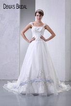 Actual Images Strapless A-Line Wedding Dresses Top Beaded Appliques Floor-Length Chapel Train Long Bridal Gowns