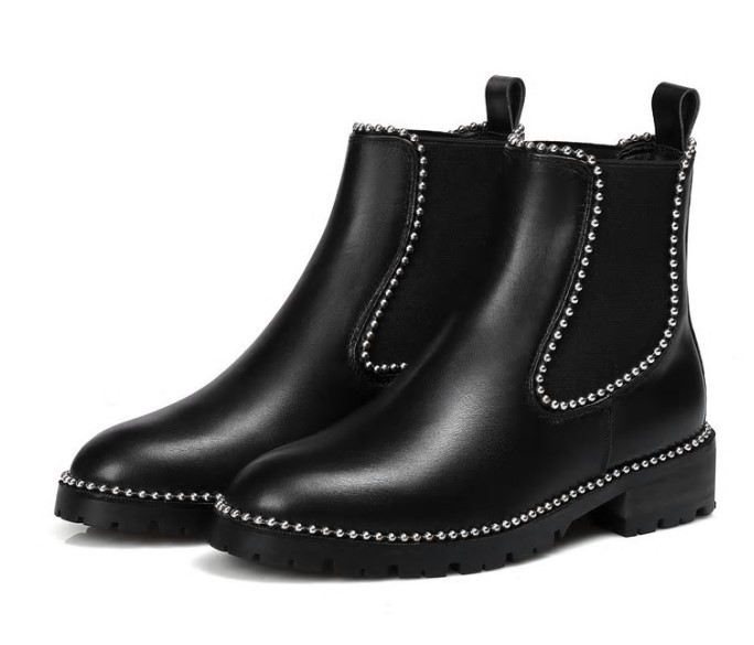 Real leather punk style rivets studded Ankle Boots for women string beaded martin Booties Zapatos Mujer Chelsea winter shoes все цены