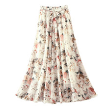 Floral skirt A-line Chiffon Skirt Women Elegant Tulle Midi Bohemian beach Summer Hot Sale  White Blue