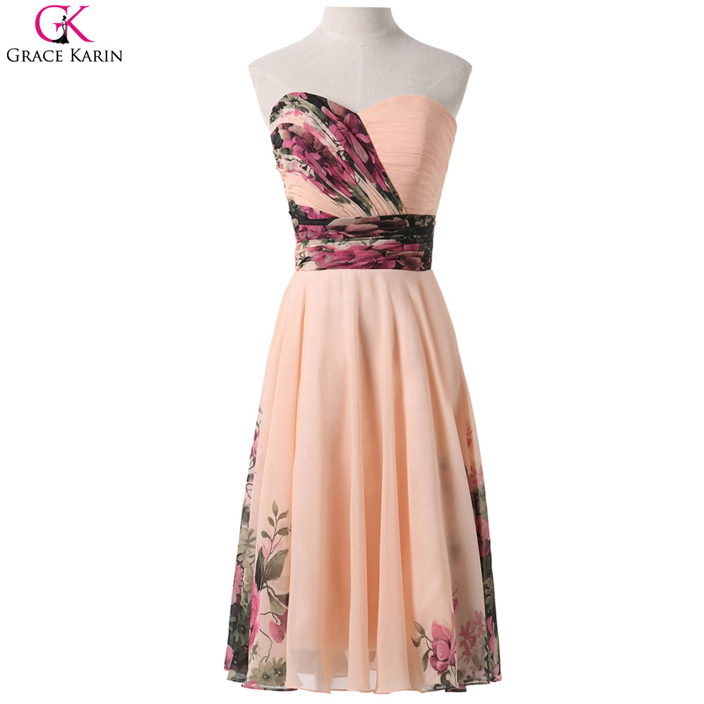 Floral bridesmaid dresses grace karin chiffon empire for Floral dresses for weddings