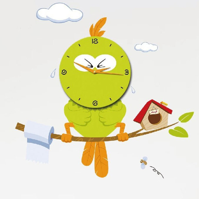 Removable 3d Cartoon Fashion Personality Rustic Quartz Wall Clock Flower Stickers Constipation Anxious Bird